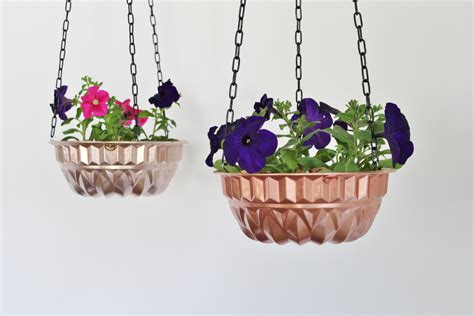 Hanging Flower Planter by Hanging Planter Made From A Vintage Copper Bundt Cake Pan