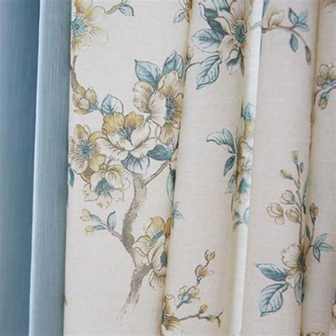 Curtains Botanical Print Blue And White Botanical Print Linen Cotton Blend Country Curtains For Bedroom Or Living Room