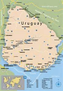 Uruguay On A World Map by Uruguay Map