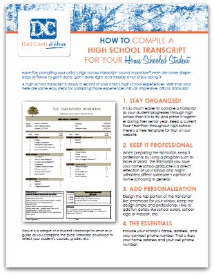 Free High School Transcript Guide And Template Free Homeschool Deals Elementary School Transcript Template