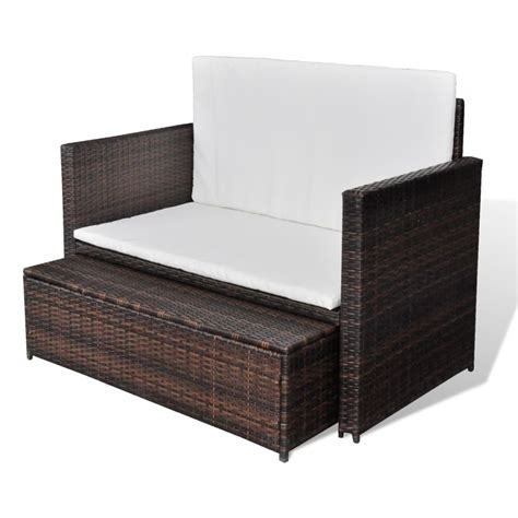 Vidaxl 3 In 1 Sofabed Set Folding Rattan Sofa Bed Sofa Bed Set