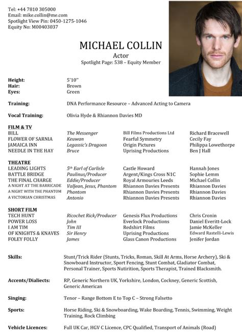 Acting Resume Sle by Actor Resume Best Template Collection 28 Images Acting