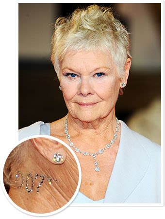 what products to use to get judi dench hair judi dench wore a 007 crystal tattoo to the london skyfall