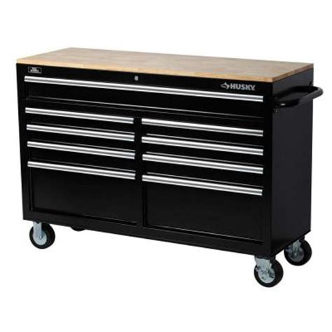 tool bench with drawers husky 52 in w 9 drawer mobile work bench black 75809ahr