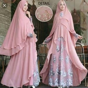 Gamis Syari Wanita Nada Pink Kombi Tosca setelan baju gamis syari modern model terbaru kombinasi