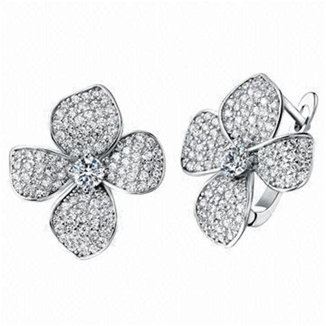 how to make pave jewelry micro pave setting flower earrings white gold plating