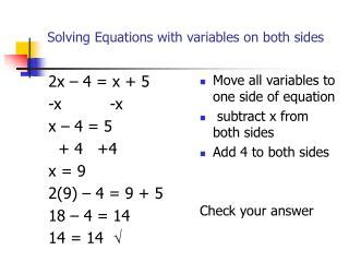 Multi Step Equations Worksheet Variables On Both Sides by Ppt Solving Equations With Variables On Both Sides