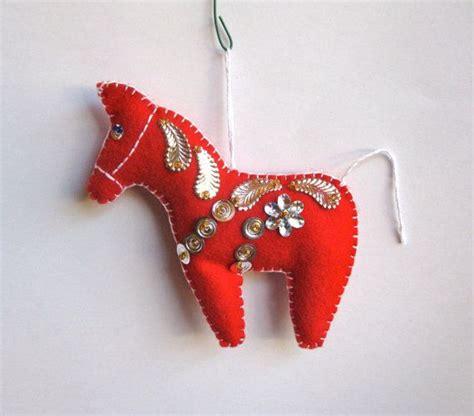 dala horse wool felt christmas tree ornament