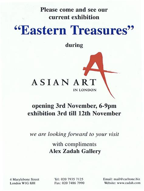 Invitation Letter Format Exhibition Zadah S Eastern Treasures Exhibition Asian In Zadah Antique Rugs Textiles
