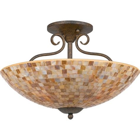 quoizel my1718ml malaga monterey mosaic 4 light 18 quot wide semi flush ceiling fixture with pen