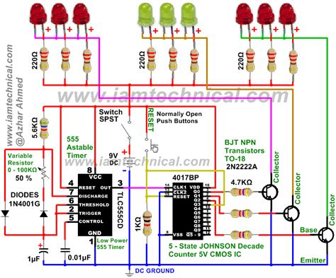 led variable resistor circuit led pattern flasher using 555 timer 4017 counter and 2n2222a transistors with variable