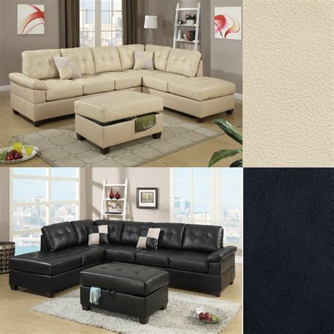 2 Pcs Sectional Sofa Couch Bonded Leather Modern Living Modern Living Room Sofa