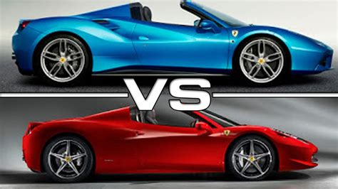 ferrari 458 vs 488 ferrari 488 spider vs 458 spider comparison youtube