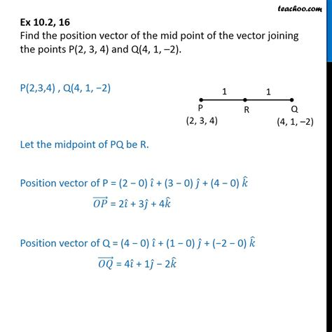 section formula vectors ex 10 2 16 find position vector of mid point of vector