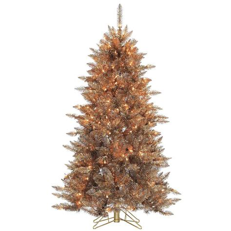 sterling christmas tree copper sterling 5 ft pre lit layered copper and silver frasier fir artificial tree with