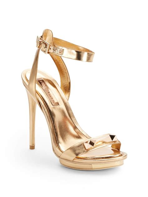 high heel sandals gold bcbgmaxazria freesia metallic leather high heel sandals in