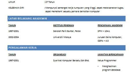 Resume Sle Untuk Kerja Kerajaan Contoh Resume Lengkap Terkini Dan Terbaik Zaman Sekarang Sememangnya Terlalu Banyak Persaingan