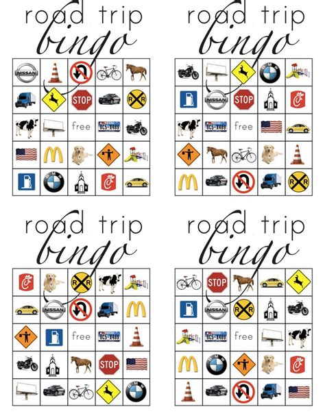 printable road trip bingo cards printable road trip bingo for kids kids pinterest