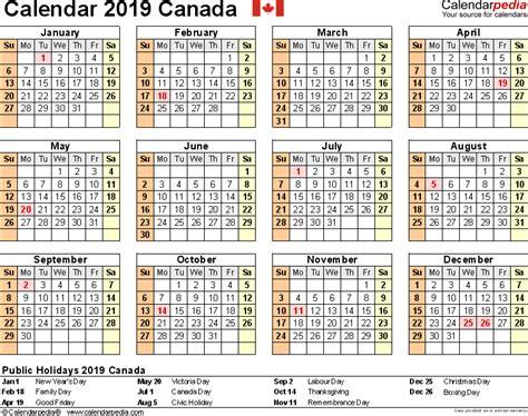 Calendar 2019 With Holidays Canada 2019 Calendar Canada 2018 Calendar Printable