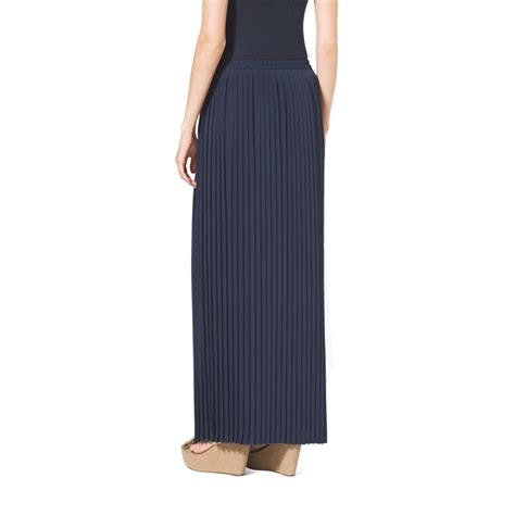 michael kors pleated maxi skirt in blue lyst