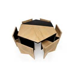 Nesting Dining Table Hexagonal Table With Nesting Chairs By Rafael De Cardenas At 1stdibs