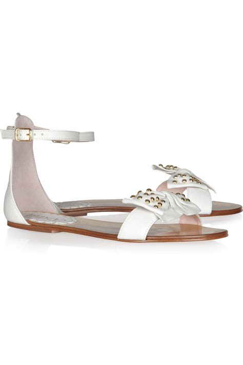 white bow sandals valentino bow embellished leather sandals in white lyst