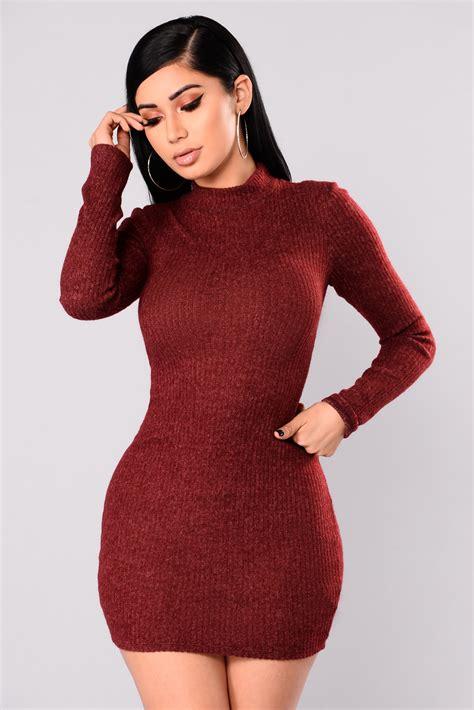 Sweater Tintin Zemba Clothing 1 soft side sweater dress burgundy