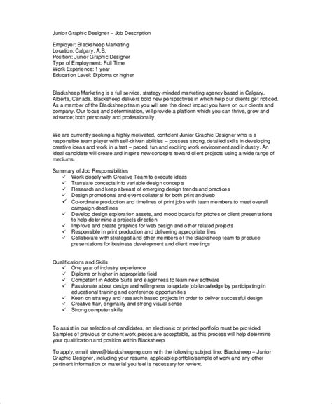 job description layout exles 9 sle graphic designer job descriptions pdf doc