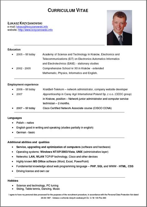 Resume Sample Format For Ojt by