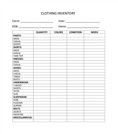 clothing inventory list template inventory spreadsheet template 48 free word excel