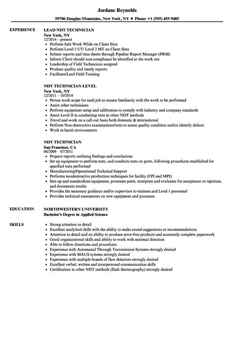 ndt technician resume sle resume ideas