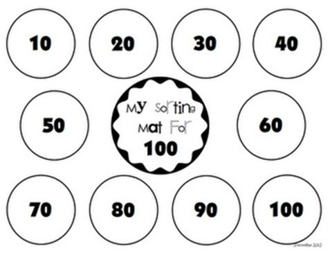 100 day counting mat 100th day sorting mat 100th day of school