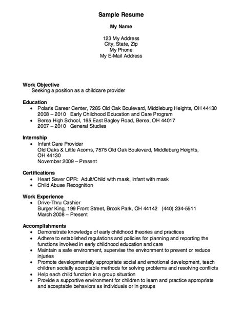 Child Care Provider Resume by Childcare Provider Resume Exle Resumes
