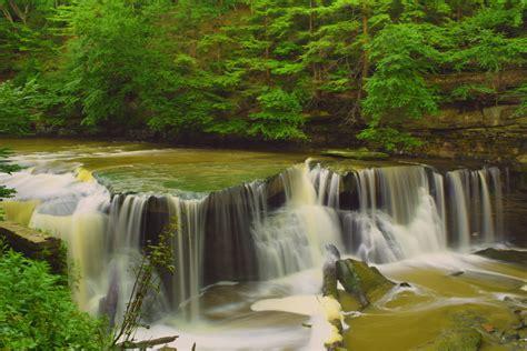waterfalls  green grass  stock photo