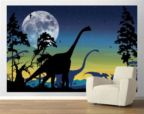 Dots Wall Stickers dinosaur landscape navy easy up mural