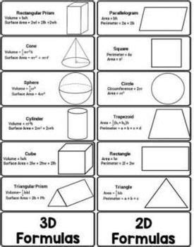 printable area formulas geometry formulas foldable volume surface area
