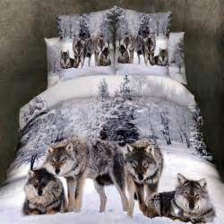 Brown And White Duvet Cover Grey White And Brown Wild Animal Wolf Print On Snow Scene