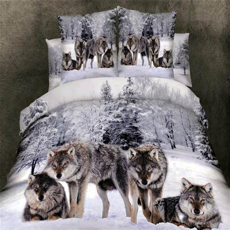 Oversized Duvet Covers Queen Grey White And Brown Wild Animal Wolf Print On Snow Scene