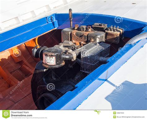 wooden boat engines diesel boat engine stock photo image 53827634