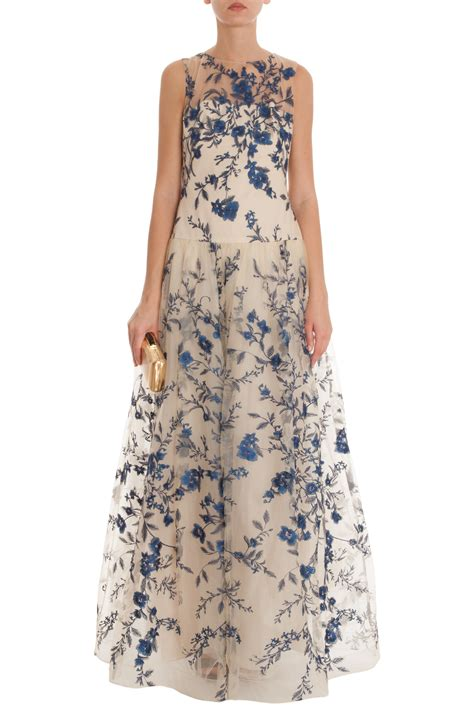 Embroidered Gown lyst notte by marchesa blue floral embroidered gown in blue