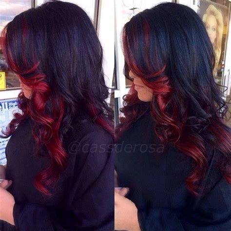 dye bottom hair tips still in style red under tone dark base color hair pinterest