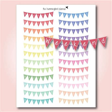 printable weekend banner pastel curved bunting weekend banners printable planner