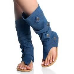 denim boots for blue denim jean open toe mid calf
