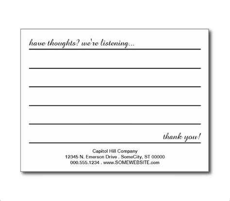 free comment card template customer comment card template customer comment card