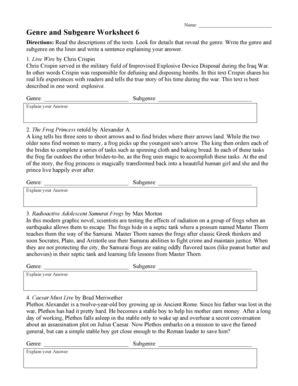 Genre And Subgenre Worksheet 2 genre and subgenre worksheet 2 fill printable