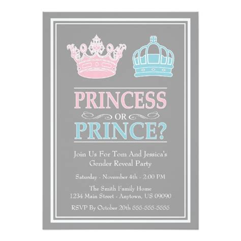 Princess Or Prince Gender Reveal Party Invitations Zazzle Com Gender Reveal Invitation Templates