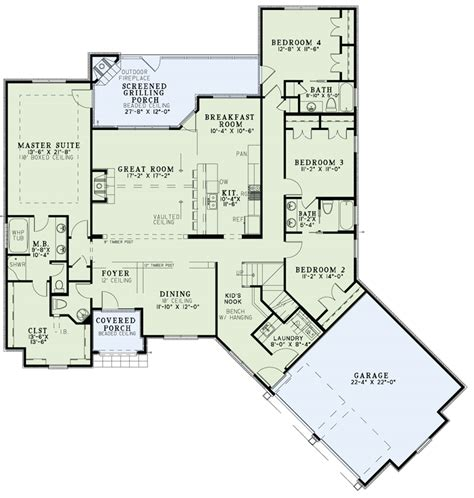 main level floor plans house plan 153 2001 4 bdrm 2 527 sq ft craftsman home