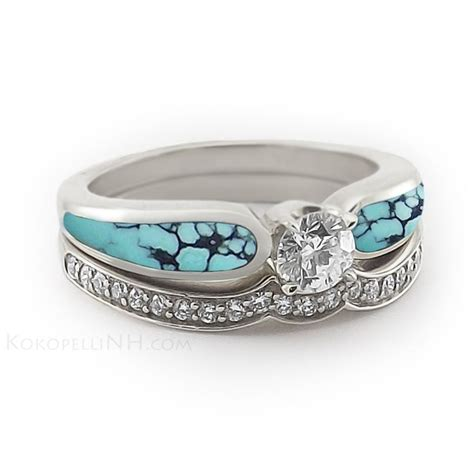 Turquoise Wedding Band Womens