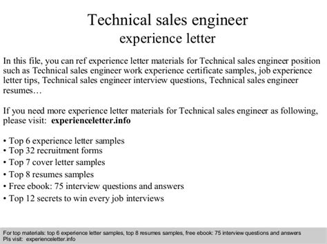 Work Experience Letter Help Technical Sales Engineer Experience Letter