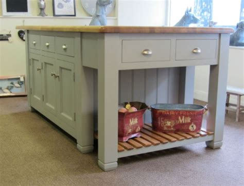 ex display murdoch troon freestanding painted pine kitchen island unit oak top kitchen